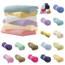 Cotton Baby Infant Cellular Warm Blanket Pram Cot Bed Mosses Outdoor Basket Crib