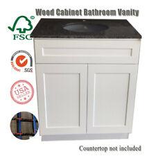 """30"""" Wooden Bathroom Vanity White Shaker Single-sink Vanity Base Storage Cabinet"""