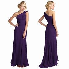 One Shoulder Chiffon Evening Gown Dress Deep Purple Size AU 12