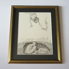 FRANK GUTIERREZ DRAWING MUSEUM QUALITY MOD ABSTRACT VNTG  COLLECTION SURREALISM