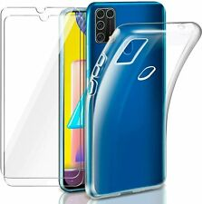 For Samsung Galaxy M31 Case Clear Slim Gel Cover & Glass Screen Protector