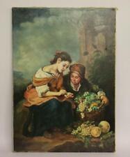 Zwei Frauen beim Auslesen der Trauben Ölgemälde nach Murillo 2.H. 20.Jhd(BG9504)