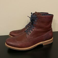 Cole Haan C11699 Burgundy Wingtip Ankle Leather Boots Size 10.5