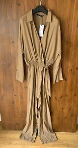 RRP £50 - ZARA JUMPSUIT Brown Striped 6% Wool Summer L / UK 14 / 40 - BNWT