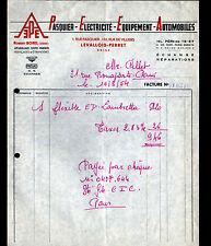 """LEVALLOIS-PERRET (92) EQUIPEMENT pour AUTOMOBILE """"Robert BOREL"""" en 1954"""