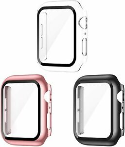 3 Pack Apple Watch Case with Tempered Glass Screen Protector - 38mm Series 3 2 1