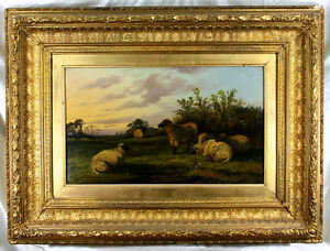 Thomas Sidney Cooper (English 1803-1902) Beautiful Oil - Sheep In A Landscape