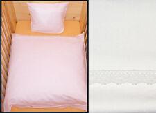 Bettwäsche 80x80 Baby Geburt Weiß mit Baumwollspitze Baumwolle Kinderwagen