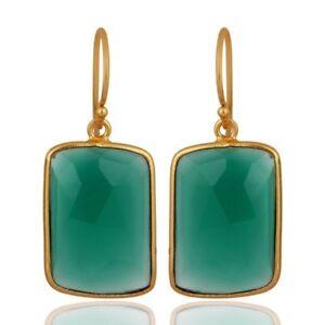 Green Onyx 18K Gold Plated 925 Sterling Silver Earrings Gemstone Jewelry