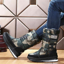 Winter Mens Warm Snow Boots Mid Calf Thicken Velvet Lined Outdoor Work Shoes Hot