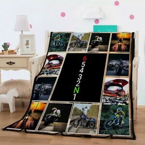Novelty Gift Cool Motorcycle Motorbike Flannel Bedspread Blanket Throw 150*200cm