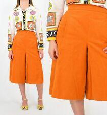 70s Vintage Orange Corduroy Gaucho Pants Size 4 S Hippy Boho Peasant Novelty