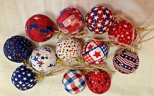 Patriotic Summer Tree Balls/Primitive/Farmhouse/ Balls/Set of 12/Red-White-Blue
