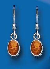 Amber Oval Drop Earrings Sterling Silver Drops