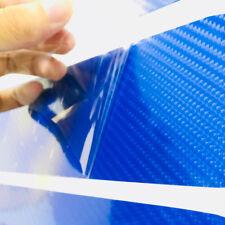4X Blue 5D Carbon Fiber Car Door Plate Sill Scuff Cover Panel Protector Sticker