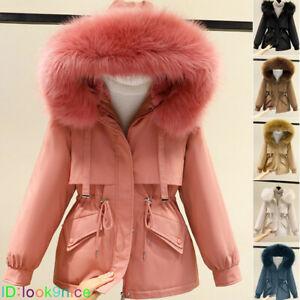 New Women Fleece Lined Fur Coat Winter Warm Outwear Parka Hooded Jacket 7 Colors