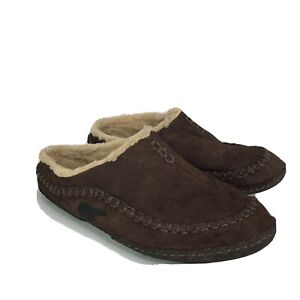 Sorel Falcon Ridge Mens Brown Slippers Suede Leather Sherpa Lining Size 10