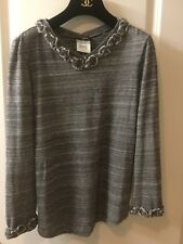 CHANEL RARE 10A LESAGE GRAY BRAID TRIM PULLOVER TOP 34 36 NEW FOR JACKET