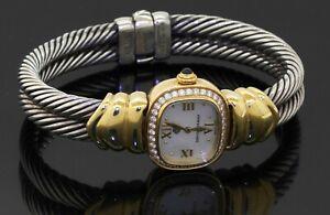 D. Yurman 18K & 925 Sterling silver 0.75CT VS1/F diamond & MOP ladies cuff watch