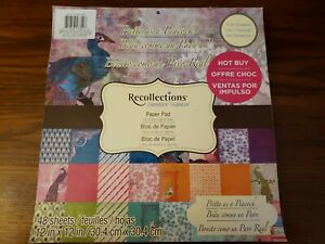 """#817 Recollections Signature Pretty as a Peacock Paper Pad 12"""" x 12"""" 48 Sheets"""