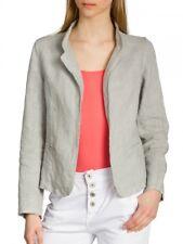 Caspar Bzr004 Ladies Linen Blazer Summer Jacket Short Light Gray 36 S Uk8 Us6