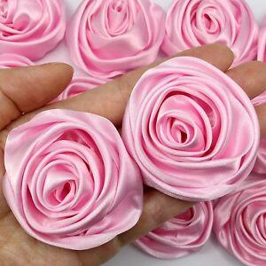 "24PC Pink 2"" Satin Ribbon Rose Flower DIY Wedding Bridal Bouquet 50mm"