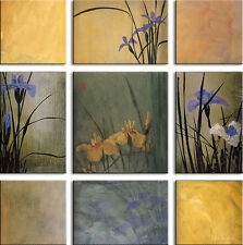 9 VARIOUS SIZED CANVASSED ARTS. IRIS NINE PATCH SET by DON LI-LEGER 9PC CANVAS