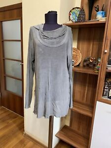 BRIGITTE BUGE GREY STRETCH JERSEY VISCOSE RELAXED HOODED TOP BLOUSE-UK 14