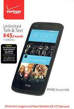 """HTC Desire 526 4G LTE WiFi Android Smartphone 8GB 4.7"""" Quad Core Verizon Prepaid"""