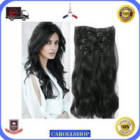 Kit Extensions Cheveux de Tresse a Clips 100% Naturel Noir Curly Tête Tissage