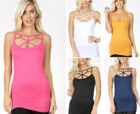 Women's Criss Cross Strappy Tank Top Camisole Cage Layering Long Basic Solids
