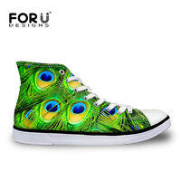 New Womens Men Sneakers High Top Casual Trainers Shoes  Lady Flat Canvas Peacock