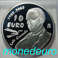 (11) ESPAÑA 2002 10 EUROS PLATA PROOF LUIS CERNUDA
