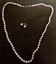 "Vintage  Faux Pink Pearl Necklace And  Earrings Plastic Bead 30""  Hand Knotted"