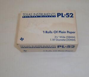 """Vtg Texas Instruments PL-52 Printing Calculators 3 Rolls Plain Paper 2-1/4"""" 58MM"""
