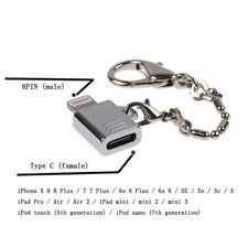 Keychain Adapter iPhone 8Pin Male to Type C USB 3.1 Female Converter Connector