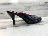 Franco Sarto Mule Slip On Heel Close Toe Black Patent Leather Women's Size 8M