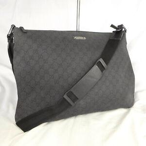 Authentic Rare Gucci Black GG Canvas Large Crossbody Messenger Shoulder Bag VGC