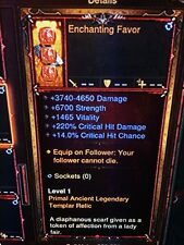 DIABLO 3 MODDED PRIMAL ANCIENT FOLLOWER RELIC, FOCUS, TOKEN SET OF 9 XBOX 1 2.6