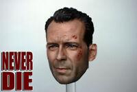 1/6 Male Figure Head Sculpt Model Star Bruce Carving Willis Battle Damage Ver.