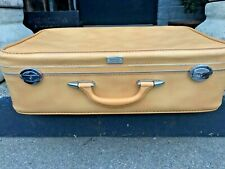 """Vintage Amelia Earhart Yellow Leather Suitcase / Luggage w KEYS, 1960'S, 24"""""""