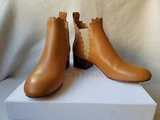 New Chloe Lauren 40 10 Scalloped Leather Chelsea Boots Peanut Butter Brown Tan