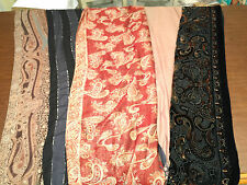 Lot of 5 Womens Long SILK WRAPS SCARVES FRINGED SHAWLS Paisley Beige Brown Black