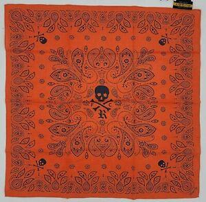 Ralph Lauren RL Rugby FC Skull & Bones Bandana Handkerchief 22x22 Cotton Orange