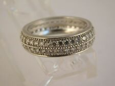 Wedding Band Cz Sterling Silver Ring Sz 11 925 Signed Band Faceted White