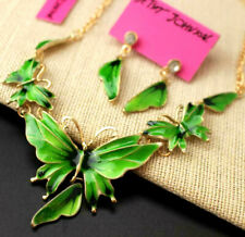 Set Enamel Jewelry Betsey Johnson rhinestone butterfly necklace Free shipping