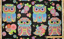 "Night Bright Black Large Owls Fabric Panel/Repeat  24""  #77601"