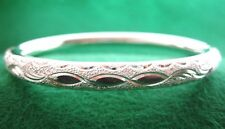 925 Sterling Silver Laser Diamond Cut 6Mm Wide Bangle 13g 7""