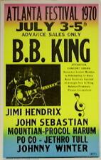 "B.B. King Concert Poster - 1970 Atlanta Festival w/ Jimi Hendrix Poco - 14""x22"""