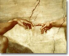 """MICHAELANGELO THE CREATION OF ADAM STRETCHED CANVAS GICLEE REPRO 36"""" x 24"""""""